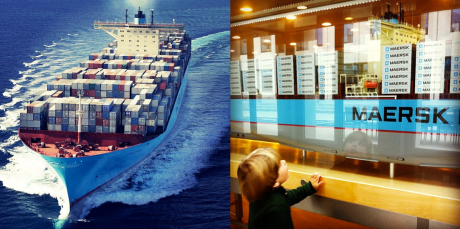 Two of our early IGs, featuring Estelle Maersk on the left and my son Wilfred on the right, in front of the giant Emma Maersk scale model in the Maersk HQ.